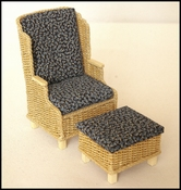 Armchair and footstool together
