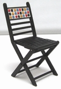 Fold up bistro chair with mosaic back (real stones), 76 mm h