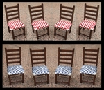 4 Chairs with woven seat, 85 mm high