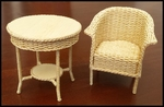 Lloyd Loom chair and table together.